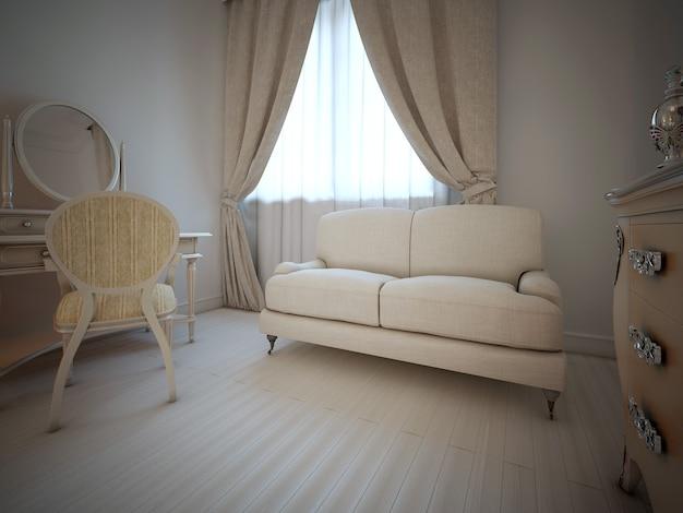 Interno camera da letto vintage in stile art déco