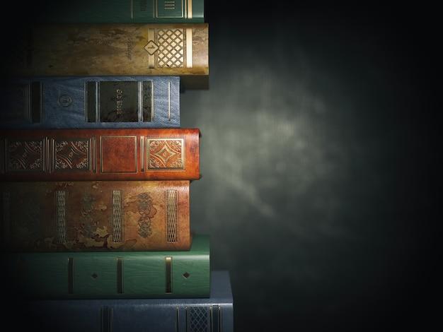 Libri dell'annata su vecchio fondo sporco nero. illustrazione 3d