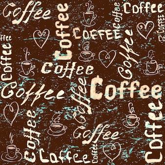 Motivo caffè vintage marrone e turchese senza cuciture con scritte, cuori e tazze da caffè