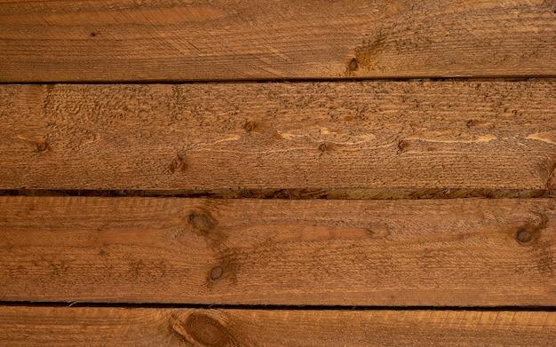 Trama di sfondo legno marrone vintage. vecchia parete in legno verniciato per il design con spazio di copia e consistenza visibile. vista dall'alto sullo sfondo di legno. assi di legno con un bel motivo