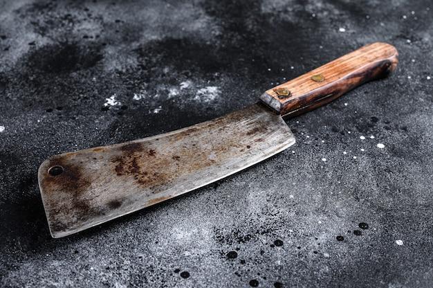 Mannaia da macellaio vintage con manico in legno