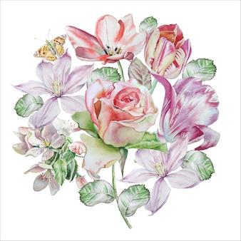 Carta d'epoca con fiori primaverili
