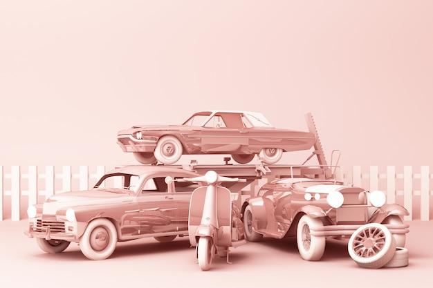 Automobili d'annata nel colore pastello rosa con il motorino d'annata sulla rappresentazione rosa 3d