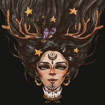 Illustrazione di strega affascinante vintage, magia e stregoneria, biglietto di auguri di halloween felice isolato su sfondo nero