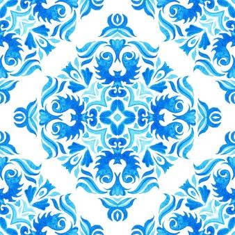 Vintage damasco senza soluzione di continuità ornamentale acquerello arabesco vernice piastrelle azulejo