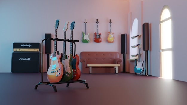 Chitarra elettrica vintage nel negozio di chitarre. rendering 3d