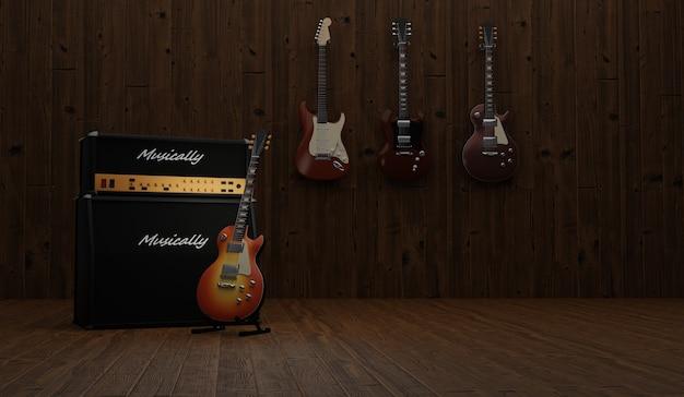 Chitarra elettrica vintage con amplificatore vintage su uno sfondo di legno. rendering 3d