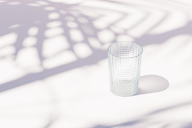 Vetro vuoto vintage su sfondo bianco con ombre di foglie tropicali, rendering 3d