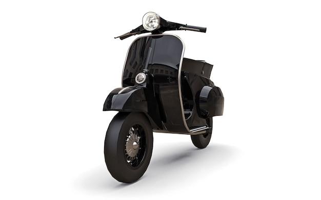 Motorino nero europeo dell'annata su una superficie bianca