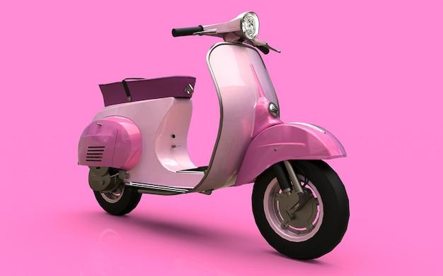 Scooter rosa europeo vintage su sfondo rosa. rendering 3d.