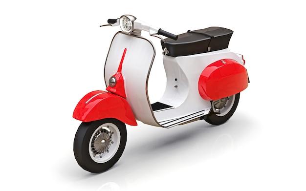 Ciclomotore rosso e bianco europeo dell'annata su una superficie bianca