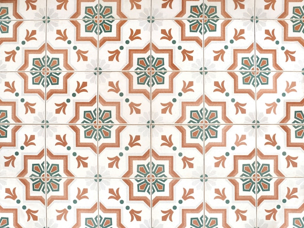 Struttura e fondo floreali d'annata della decorazione del pavimento delle piastrelle di ceramica del modello.
