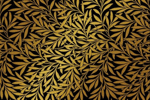 Remix vintage del motivo a foglia d'oro da un'opera d'arte di william morris