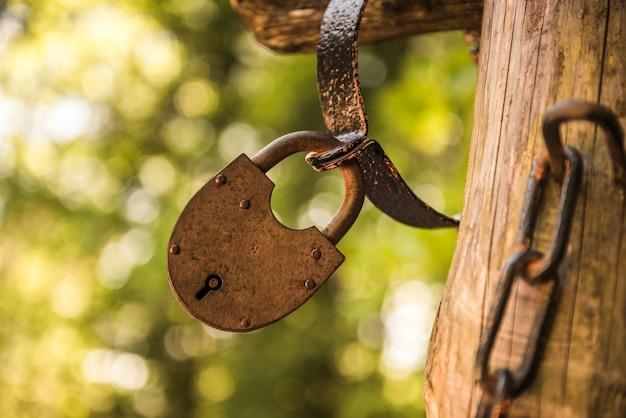 Vecchia serratura metallica del grunge dell'annata fuori sulla natura