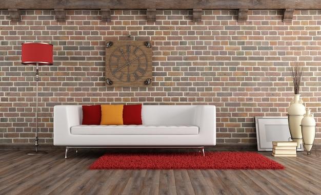 Salotto vintage con divano moderno
