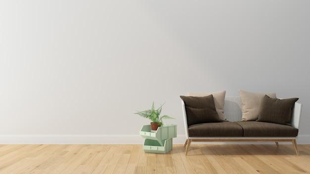La luce del sole del pavimento di legno del salone d'annata 3d rende il modello dello spazio della copia