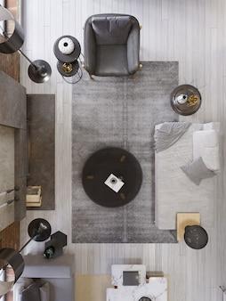 Soggiorno loft vintage con camino moderno, interni dal design moderno, vista dall'alto, pianta, rendering 3d
