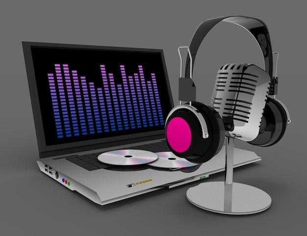 Microfono e cuffie vintage. 3d reso illustrazione