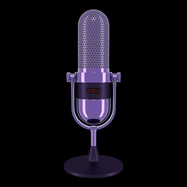 Microfono vintage di colore viola isolato su sfondo nero. rendering 3d.