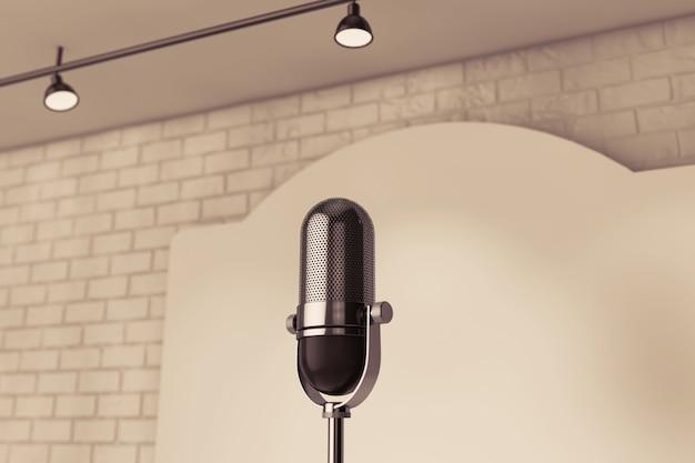 Microfono vintage in piedi su un primo piano estremo del palco vuoto
