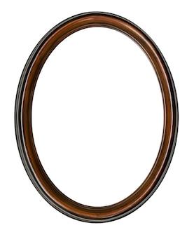 Vintage vecchia cornice ovale in legno retrò isolato su sfondo bianco.
