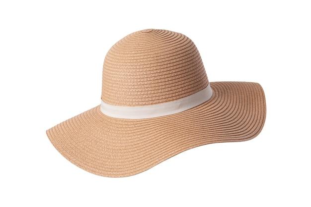 Cappello panama vintage, cappello di paglia giallo estivo da donna con il nastro bianco su sfondo bianco.