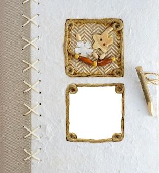 Copertina dell'album fotografico vintage. cornice vuota per foto.