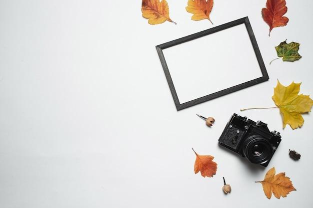 Retro macchina fotografica d'annata e struttura di legno della foto con le foglie di caduta di autunno.