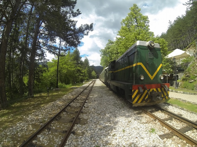 Vintage retrò treno sulla ferrovia a scartamento ridotto in serbia
