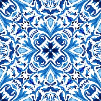Modello di disegno di piastrelle di vernice arabesco acquerello ornamentale vintage senza soluzione di continuità per tessuto e sfondi