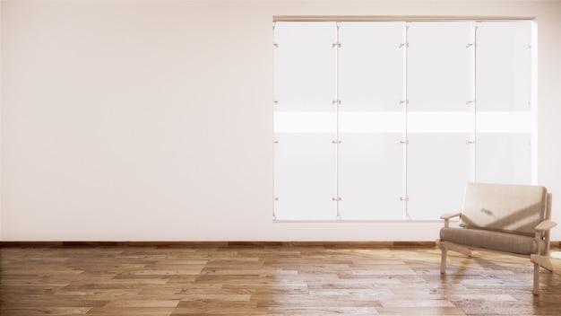 Divano vintage in legno di design giapponese, sul pavimento in legno interno della camera