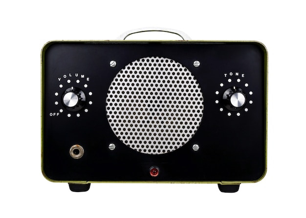Vintage solid state amp full fidelity su bianco con percorso di clipping amplificatore vintage