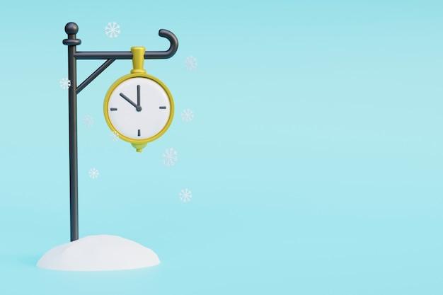 Vintage street orologio d'oro nella neve 3d render