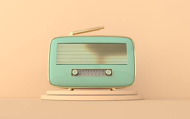 Ricevitore radio stile vintage sul podio