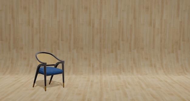 Sedia in legno in stile vintage sul pavimento in parquet e parete di grano di legno
