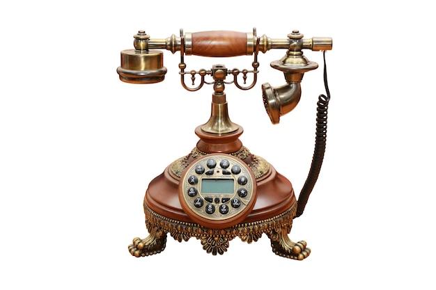 Telefono vintage isolato su sfondo bianco