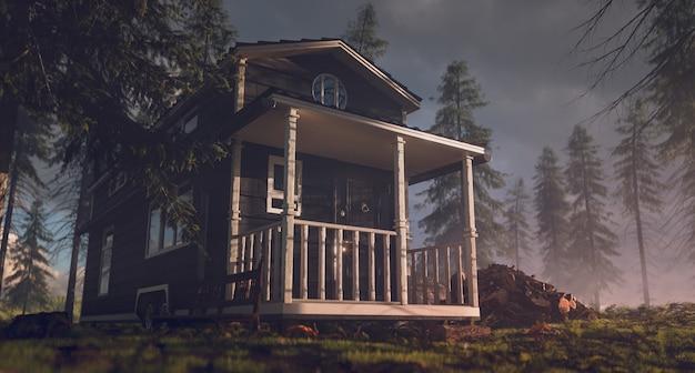 Piccola casa vintage in un ambiente forestale mattutino. rendering 3d.