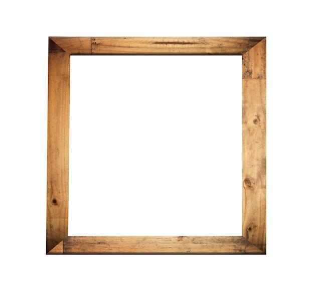 Cornice in legno vintage isolata su sfondo bianco e con tracciati di ritaglio.