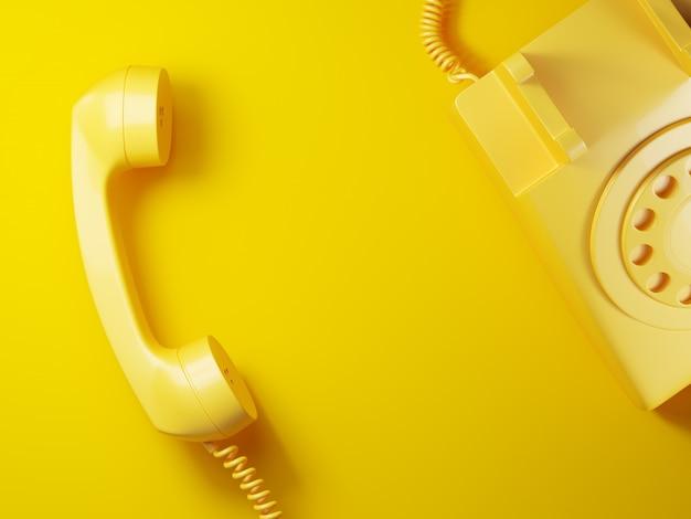 Ricevitore del telefono giallo vintage su sfondo giallo 3d