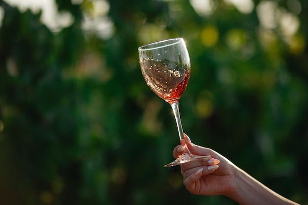 Vignaiolo degustazione vino rosso da un bicchiere in un vigneto. sfondo di vigneti al tramonto. ripresa macro di una mano di sommelier che tiene il bicchiere da vino