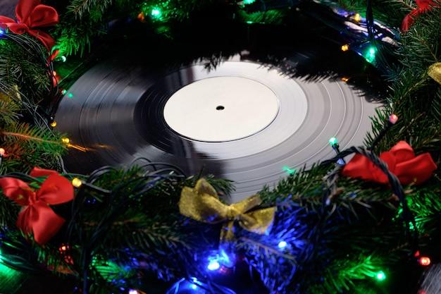 Disco in vinile in stile natalizio