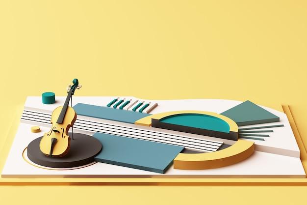 Concetto di violino e strumento musicale, composizione astratta di piattaforme di forme geometriche in tonalità di giallo e verde. rendering 3d