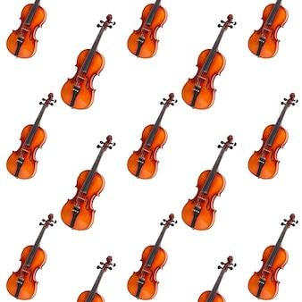 Modello senza cuciture di violino su sfondo bianco. strumento musicale violino senza cuciture. concetto minimalista della musica. stampa violino