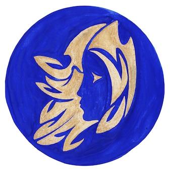 Illustrazione dell'acquerello del simbolo dello zodiaco della verginel'immagine raster dell'astrologia dell'icona dello zodiaco vergine