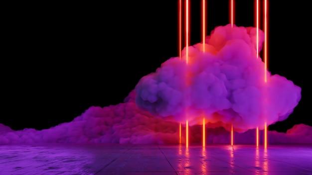 Paesaggio di realtà virtuale con luci al neon