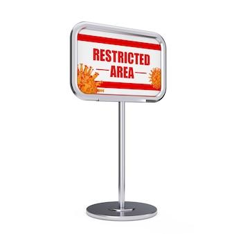 Informazioni sull'area riservata del virus covid-19 stand su uno sfondo bianco. rendering 3d