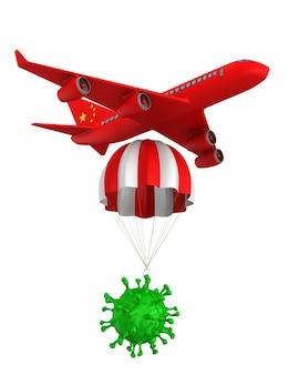 Virus con paracadute e aeroplano su bianco