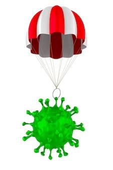 Virus con paracadute su bianco.