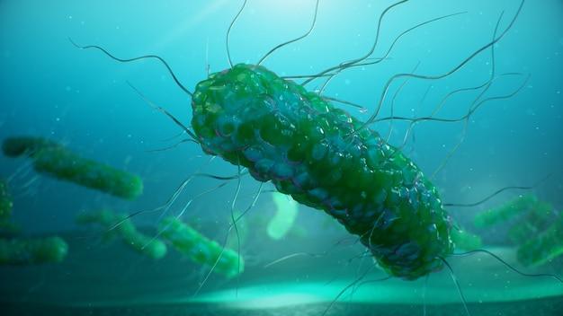 Virus che causano malattie infettive, diminuzione dell'immunità. le cellule infettano l'organismo. batteri astratti.