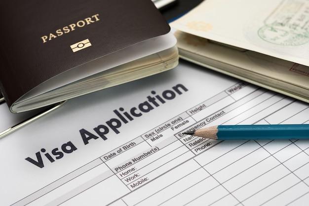 Modulo di domanda di visto per viaggiare documento di immigrazione